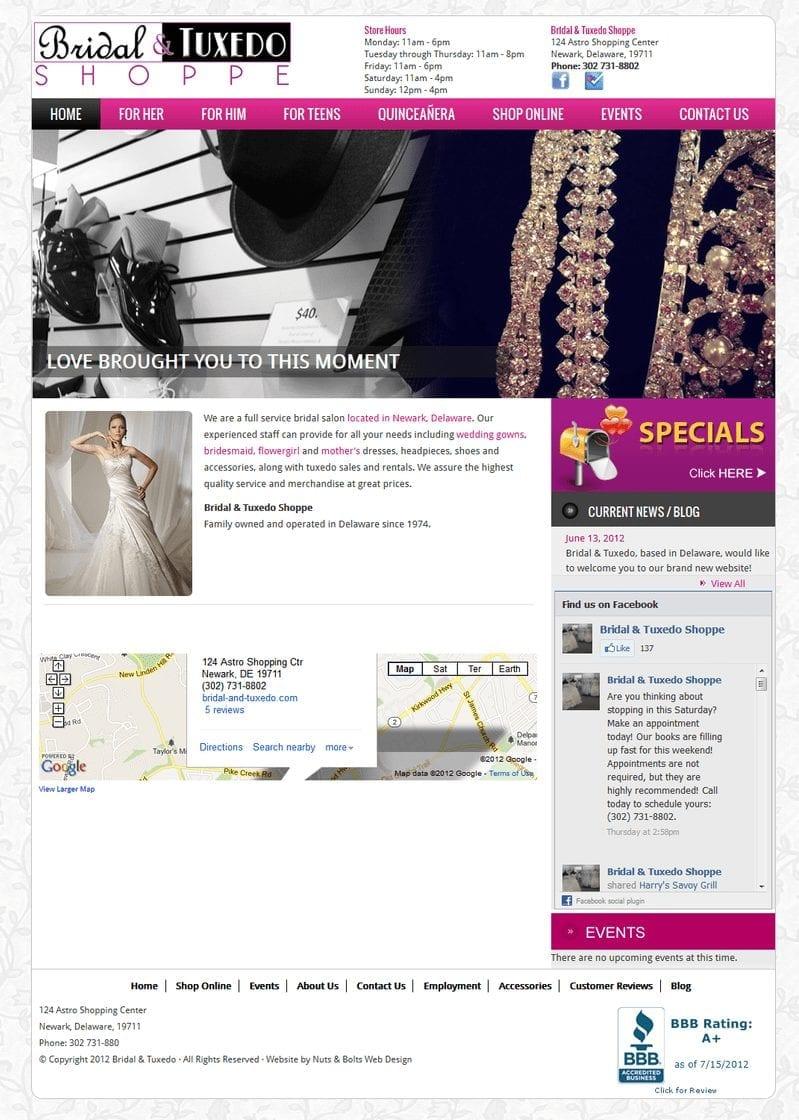 Web Design: Bridal & Tuxedo Shoppe