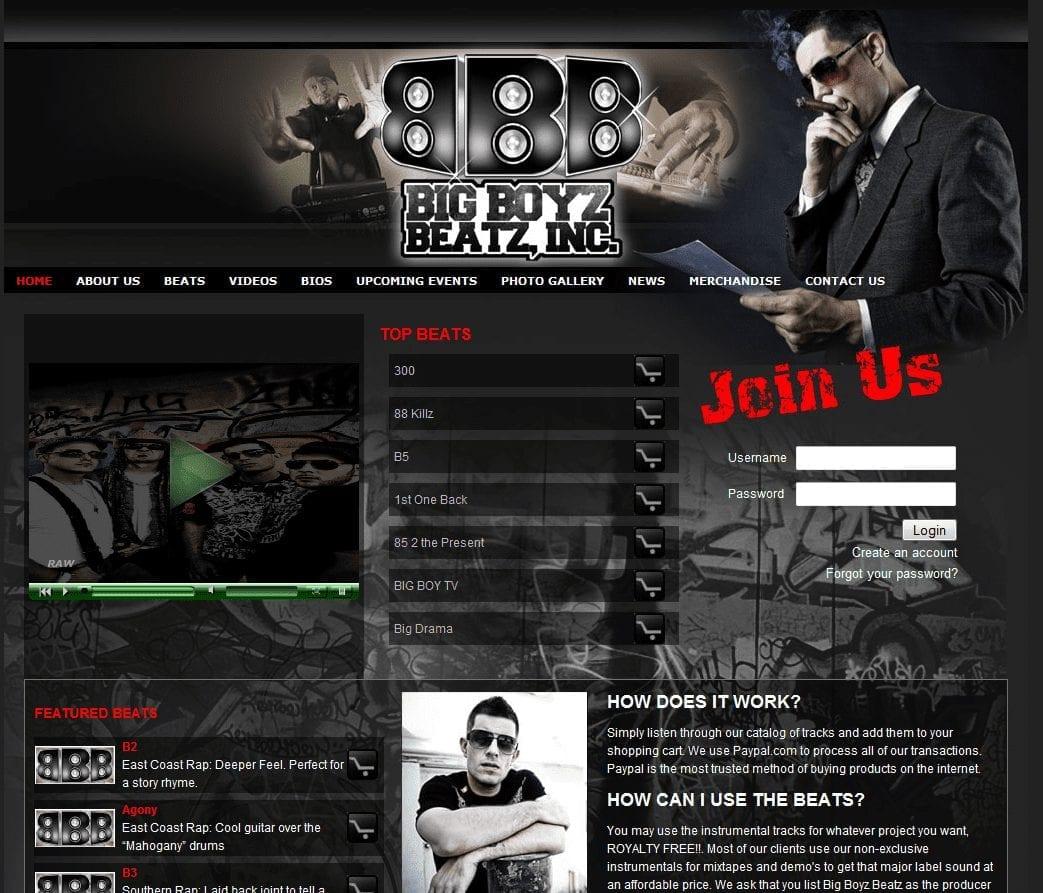 Web Design: Big Boyz Beatz