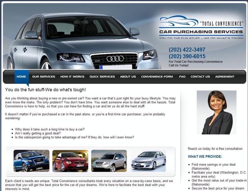Web Design: Total Convenience Car Purchasing Service