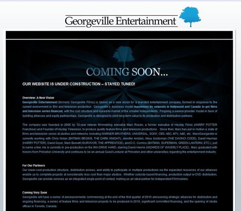 Web Design: Georgeville Entertainment