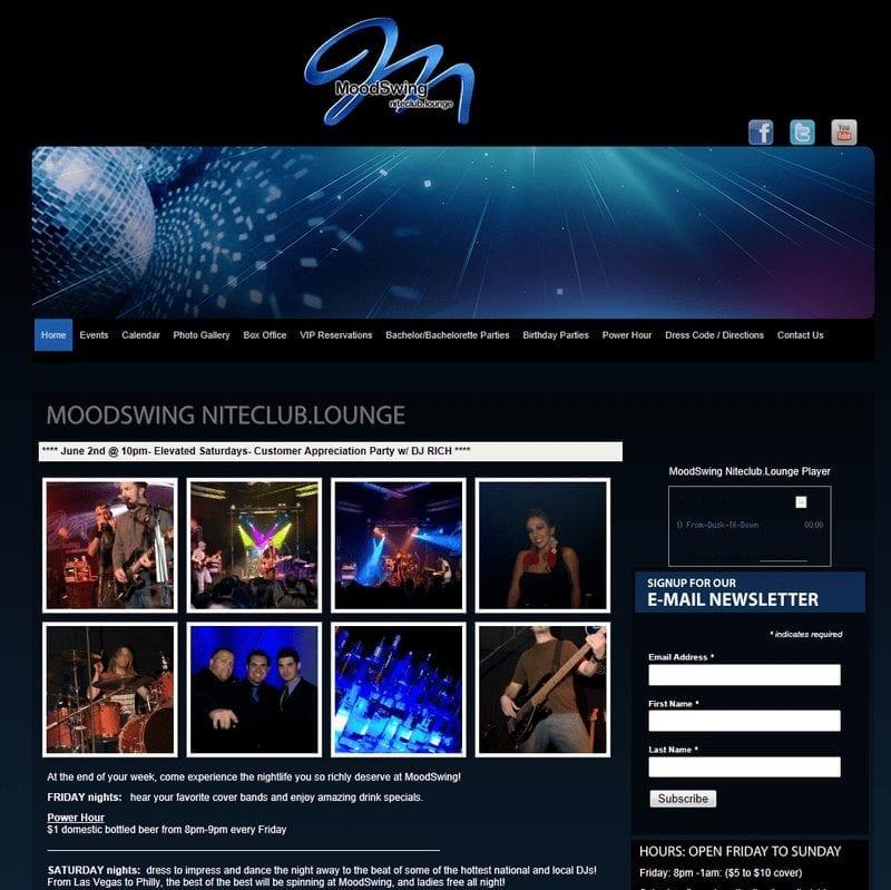 Web Design: Moodswing Niteclub
