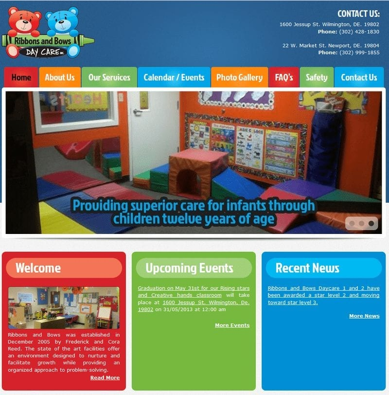 Web Design: Ribbons and Bows Daycare