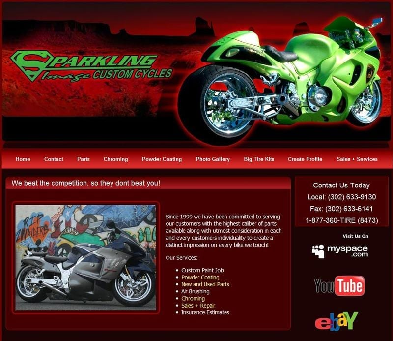 Web Design: Sparkling Image Custom Cycles
