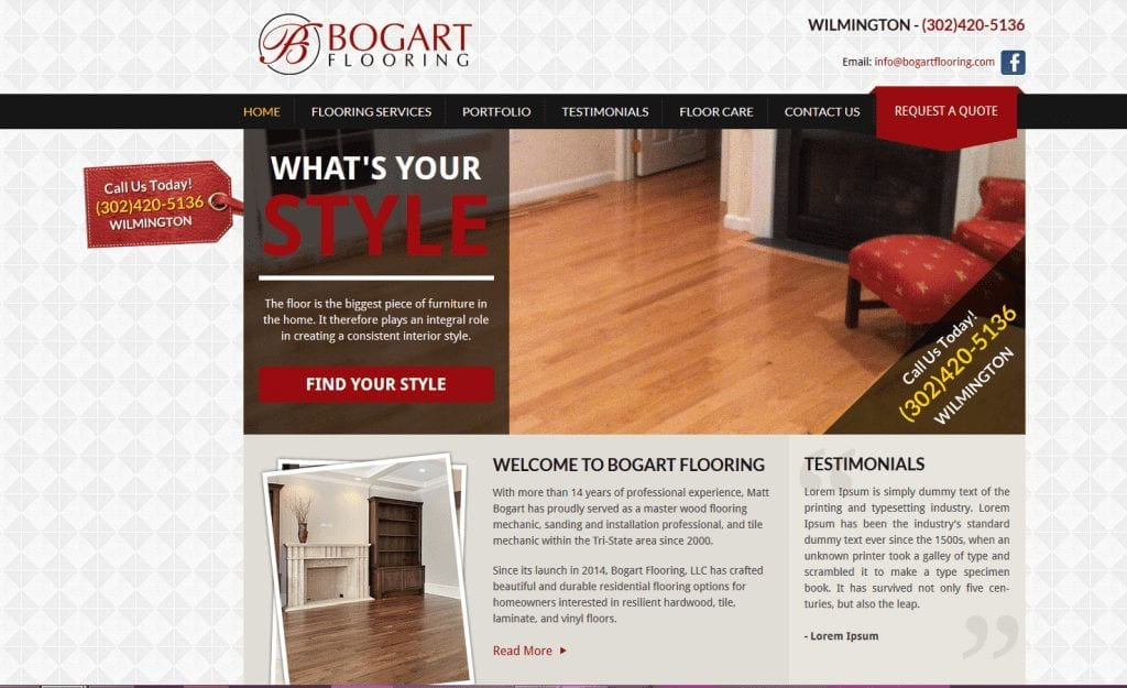 Web Design: Bogart Flooring