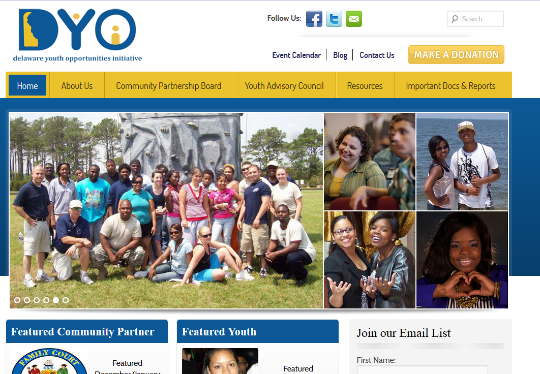 Non-Profit Web Design: Delaware Youth Opportunities Initiative